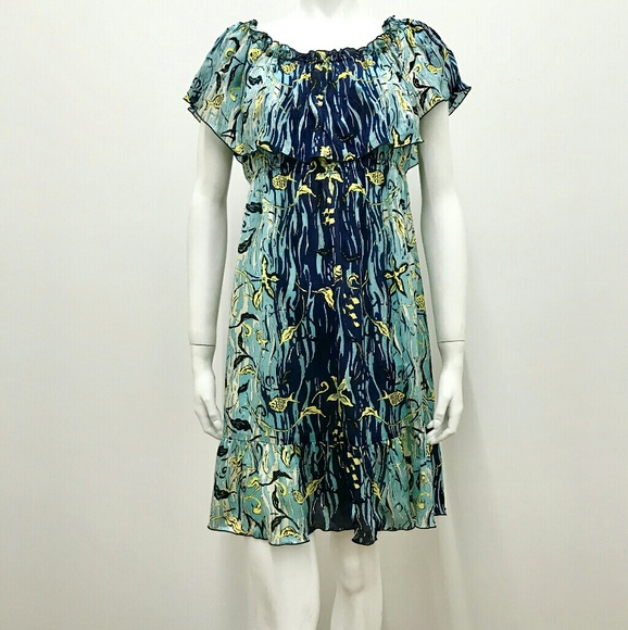 Anna Sui Dresses & Skirts - Anna Sui Printed Silk Dress With Ruffles